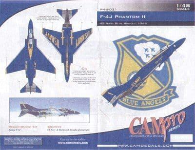 CAM PRO 1/48 McDonnell F-4J Phantoms # 4821