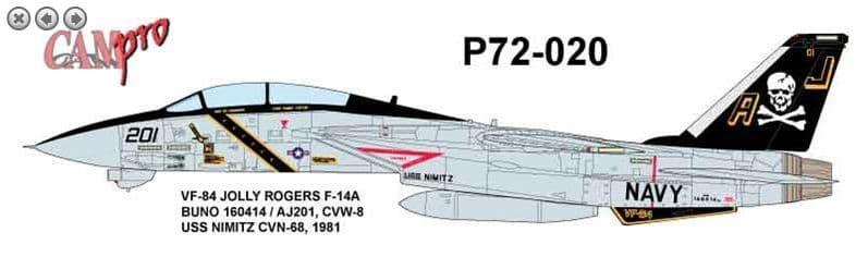 CAM PRO 1/72 Grumman F-14A VF-84 Jolly Rogers 1981 USS Nimitz # 7220