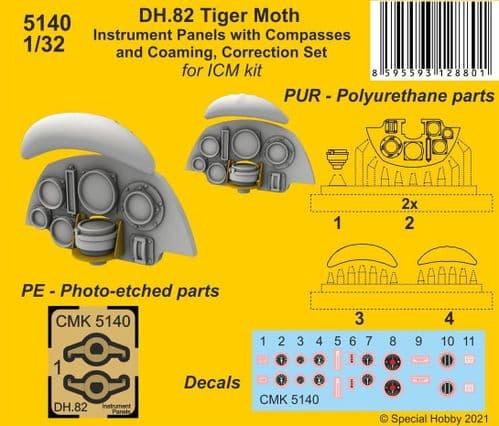 CMK 1/32 de Havilland DH.82 Tiger Moth Instrument Panels w/Compasses & Coaming Correction Set # 5140