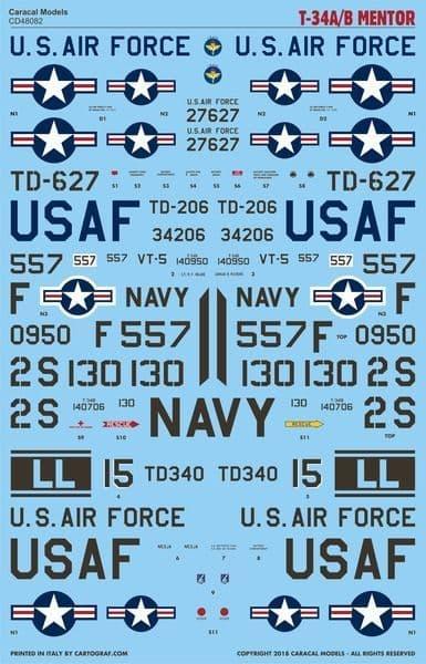 Caracal Decals 1/48 Beechcraft T-34A/B Mentor - Part 1 # 48082