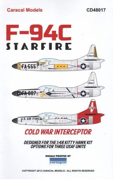 Caracal Decals 1/48 Lockheed F-94C Starfire # 48017