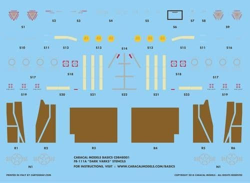 "Caracal Decals Basics 1/48 General-Dynamics FB-111A ""Dark Varks"" Stencils # B48001"