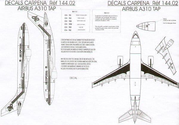 Colorado Decals 1/144 Airbus A310 TAP Air Portugal # 14402