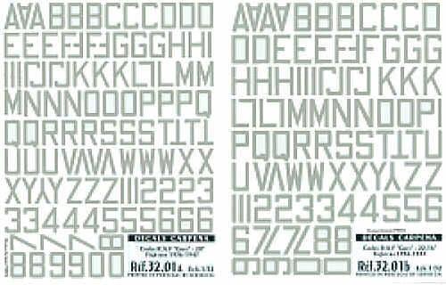 Colorado Decals 1/32 Medium Sea Grey RAF Code Letters/Numbers 20