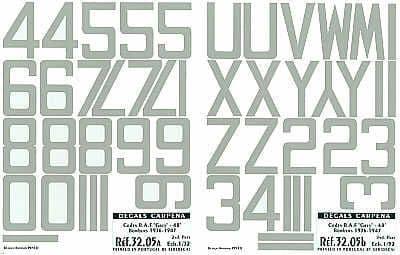 """Colorado Decals 1/32 Medium Sea Grey RAF Code Numbers 48"""" # 3200"""