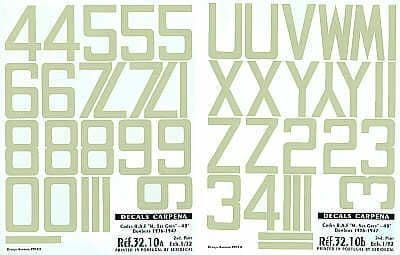 "Colorado Decals 1/32 Sky RAF Code Numbers 48"" # 32010"