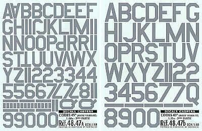 Colorado Decals 1/48 Grey Code Letters and Numbers # 48047