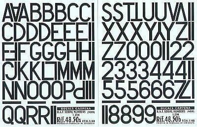 """Colorado Decals 1/48 RAF Serial Letters & Numbers Black 48"""" # 48050"""