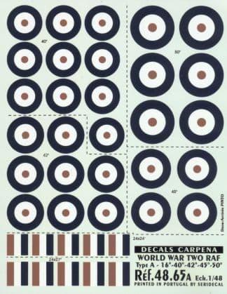 "Colorado Decals 1/48 RAF Type A Roundels -16"" - 40"" - 42"" - 45"""