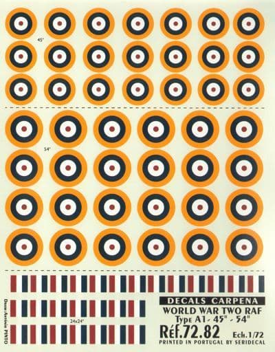 """Colorado Decals 1/72 RAF Type A1 Roundels/National Insignia -45"""""""