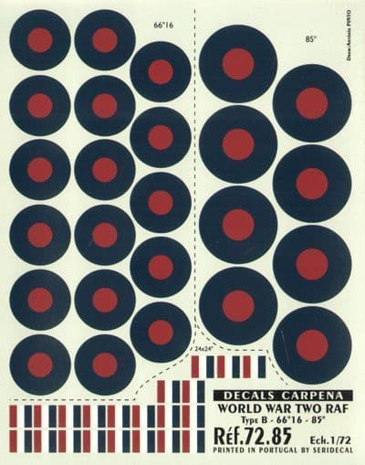 """Colorado Decals 1/72 RAF Type B Roundels/National Insignia -66""""1"""