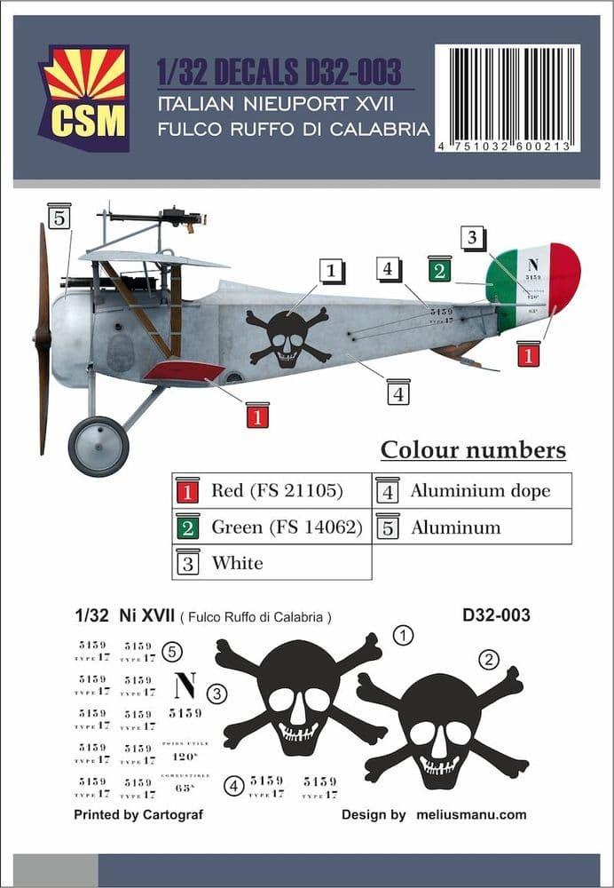Copper State Models 1/32 Nieuport XVII, Fulco Ruffo di Calabria Markings # D32-003