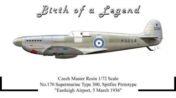 Czech Master Resin 1/72 'Birth of a Legend' Supermarine Spitfire Type 300 Prototype # 170