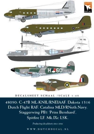 Dutch Decal 1/48 Spitfire; C-47B RNEIAAF; Catalina RNethNavy; DC-3 Dakota; Staggerwing PB1 # 48050