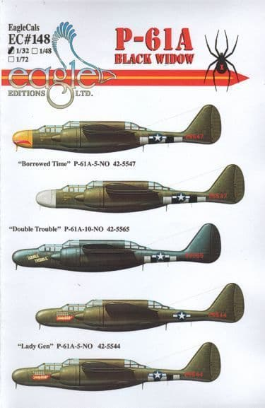 Eagle Cal decals 1/32 P-61A Black Widows # 32148