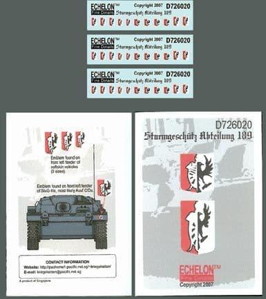 Echelon FD 1/72 Sturmgeschutz Abteilung 189 # D726020