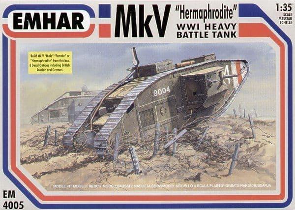 Emhar 1/35 Mk V Hermaphrodite WWI Heavy Battle Tank # 4005