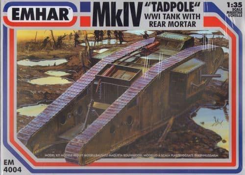 Emhar 1/35 Tadpole WWI Male Tank w/9ft Extension & Mortor # 4004