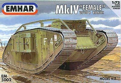 """Emhar 1/72 Mk.IV """"Female"""" WWI Tank # 5002"""