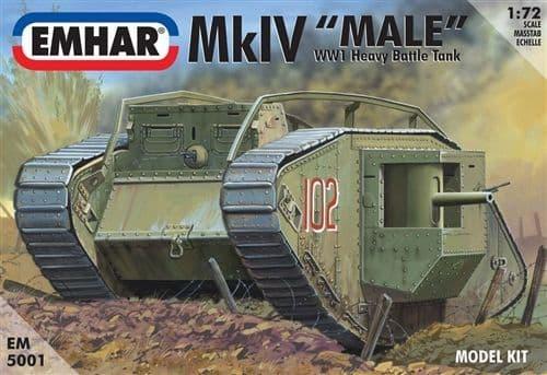 """Emhar 1/72 Mk.IV """"Male"""" WWI Tank # 5001"""