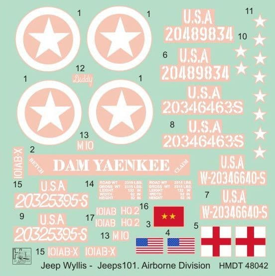 H-Model Decals 1/48 Willys Jeep MB/Ford GPW: 101st Airborne Division # 48042