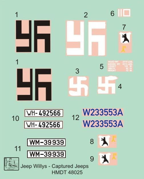 H-Model Decals 1/48 Willys Jeep MB/Ford GPW: Captured Jeeps # 48025