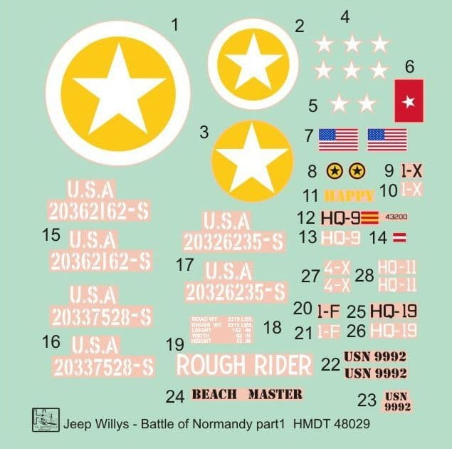 H-Model Decals 1/48 Willys Jeep MB/Ford GPW: D-Day, Battle of Normandy # 48029
