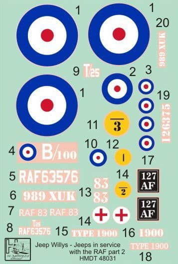 H-Model Decals 1/48 Willys Jeep MB/Ford GPW: RAF Jeeps Part 2 # 48031