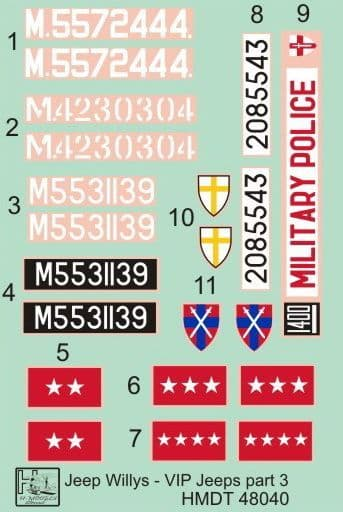 H-Model Decals 1/48 Willys Jeep MB/Ford GPW: VIP Jeeps Part 3 # 48040