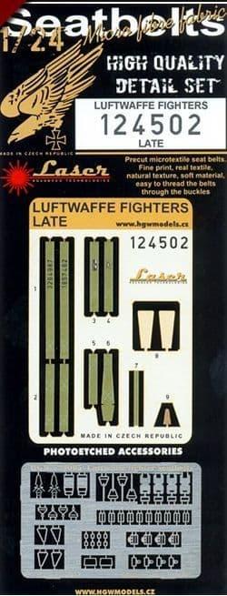 HGW 1/24 Luftwaffe Fighters - Seat Belts Late (Laser) # 124502