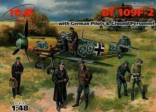 ICM 1/48 Messerschmitt Bf109F-2 with German Pilots and Ground Pe
