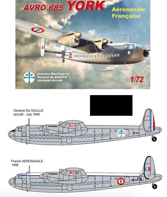 Mach 2 1/72 Avro 685 York French De Gaulle & Aeronavale # GP083