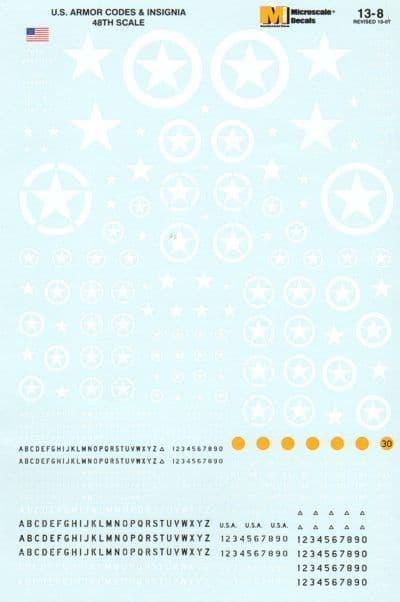 Microscale 1/48 U.S. Armour Codes & Insignia # SS13008