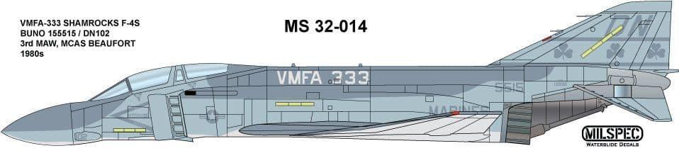 Milspec 1/32 F-4S Phantom VMFA-333 BUNO 155515/DN102 Shamrocks MCAS Beauford # 32014