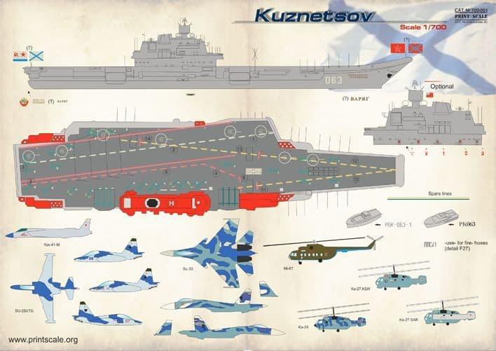 Print Scale Decals 1/700 Admiral Kuznetsov # 700001