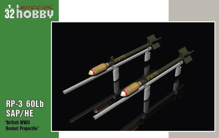 Special Hobby 1/32 British WWII Rocket Projectile RP-3 60Lb SAP/HE # 32075