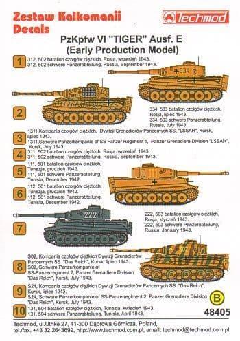 Techmod 1/48?Pz.Kpfw.VI 'Tiger' Aust. E (Early)?Camouflage & Mar