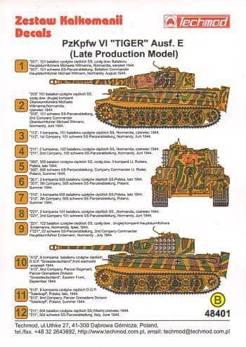 Techmod 1/48?Pz.Kpfw.VI 'Tiger' Aust. E (Late) Camouflage & Mark