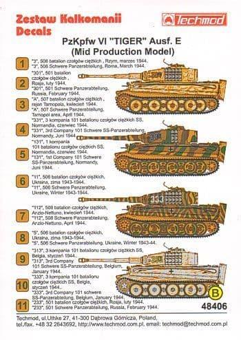 Techmod 1/48?Pz.Kpfw.VI 'Tiger' Aust. E (Mid)?Camouflage & Marki