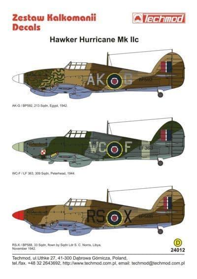 Techmod Decals 1/24 Hawker Hurricane Mk.IIc # 24012