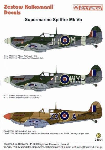 Techmod Decals 1/24 Supermarine Spitfire Mk.Vb # 24001