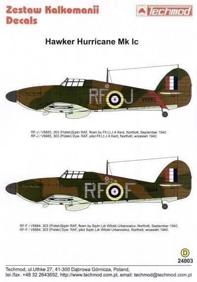 Techmod decals 1/24 Hawker Hurricane Mk.I 303 (Polish) Sqn # 240