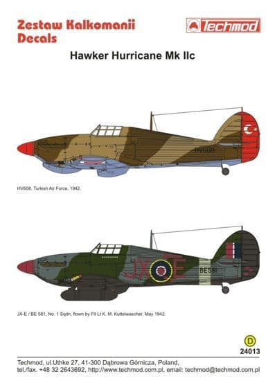 Techmod decals 1/24 Hawker Hurricane Mk.IIc # 24013