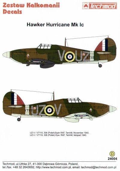 Techmod decals 1/24 Hurricane Mk.I V7118 UZ-V 306 (Polish) Sqn 1