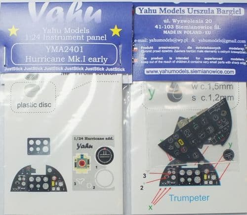 Yahu Models 1/24 Hawker Hurricane Mk.I Photoetched Instrument Panels # YMA2401