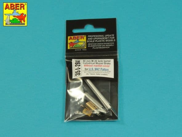 Aber 1/35 90mm M-36 Barrel Cyrindrical Muzzle Brake without Mantlet Cover for U.S. M47 Patton # 35L2