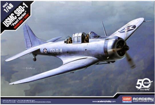 "Academy 1/48 Douglas SBD-1 Dauntless ""Pearl Harbor"" WWII US Navy Dive Bomber # 12331"