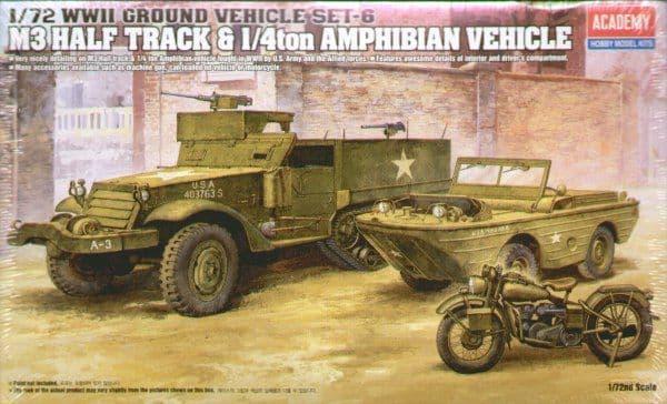 Academy 1/72 WWII Ground Vehicle Set-6 M3 Half Track & 1/4ton Amphibian Vechicle # 13408