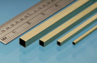 """Albion Alloys - 12"""" x 1/8"""" Square Brass Tube (Pack of 3) # SSB3"""