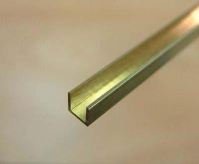 Albion Alloys - 305mm Brass U Channel 4mm x 4mm x 4mm (1 piece) # UC4